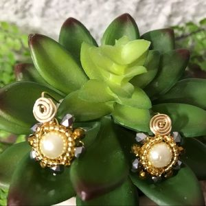 HANDMADE Jewelry Gold And Silver Crystal Earrings